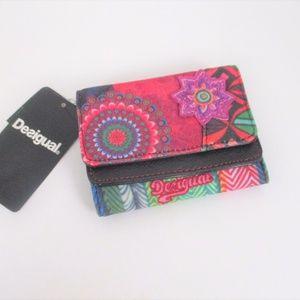 New Desigual Bi Fold Snap Wallet Canvas Faux Lthr